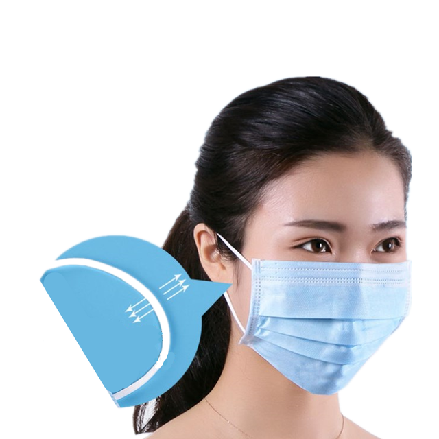 100 Pcs Blue Anti-Bacteria Disposable Surgical Masks Medical Protect Nose Mouth Masks 3-Ply Anti-PM2.5 Flu Dust-proof Face Masks 2