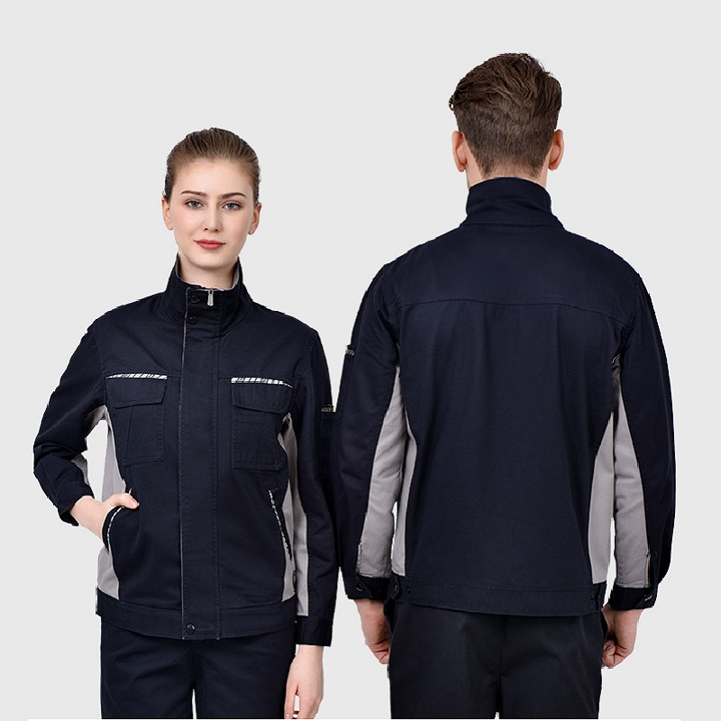 Safety Reflective Wear Resistant Worker Clothing 100% Cotton Factory Workshop Engineer Uniform Long-sleeve Coverall Welding Suit