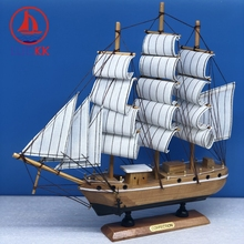 LUCKK 33CM Handmade Vintage Sailboat Model Miniature Wood Crafts Desktop Figurine Decor Marine Furnishing Ship Retro Souvenirs