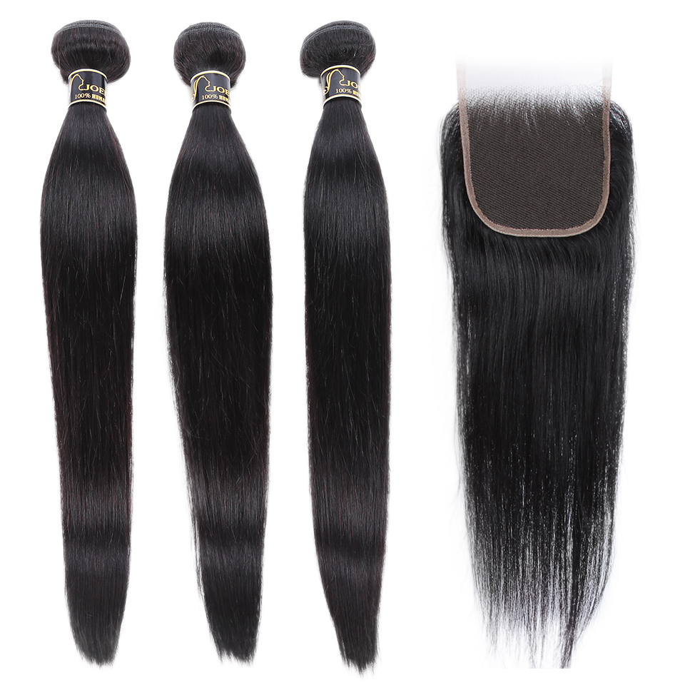 Joedir Hair Human Hair Weave 3 4 Bundles With Closure Brazilian Straight Weave Non Remy Hair 28 30 Inch Bundles With Closure