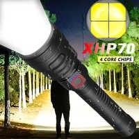 8000LM leistungsstarke XHP70 LED taschenlampe die hellsten zoom taschenlampe USB lade licht verwendet 18650 26650 für camping jagd