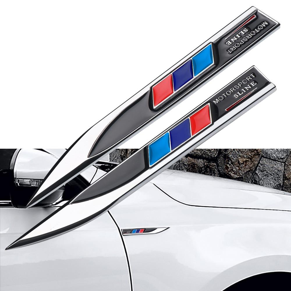 2PCS Motorsport Sline Car Body Side Emblem Badge Sticker For Bmw X1 X3 X4 X5 X6 X7 E39 E46 E60 E90 F20 E60 F10 Car Accessories