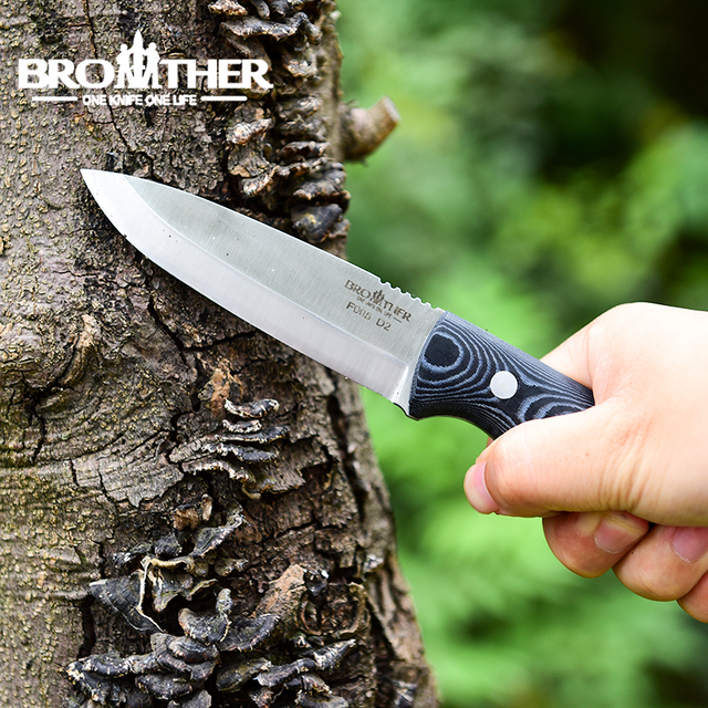 [BROTHER F005] 61HRC D2 blade Fixed Blade knife Bushcraft Knives Straight Tactical Hunting Camping high quality EDC tool 5