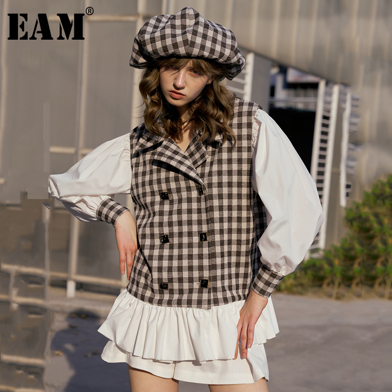 [EAM] Loose Fit Plaid Split Joint Ruffles Jacket New Lapel Long Lantern Sleeve Women Coat Fashion Tide Spring 2020 1S016