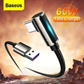 Baseus LED USB Type C Cable 90 Degree Fast Charging Charger for Xiaomi mi Huawei Samsung 66W 5A USBC Mobile Phone Data Wire Cord