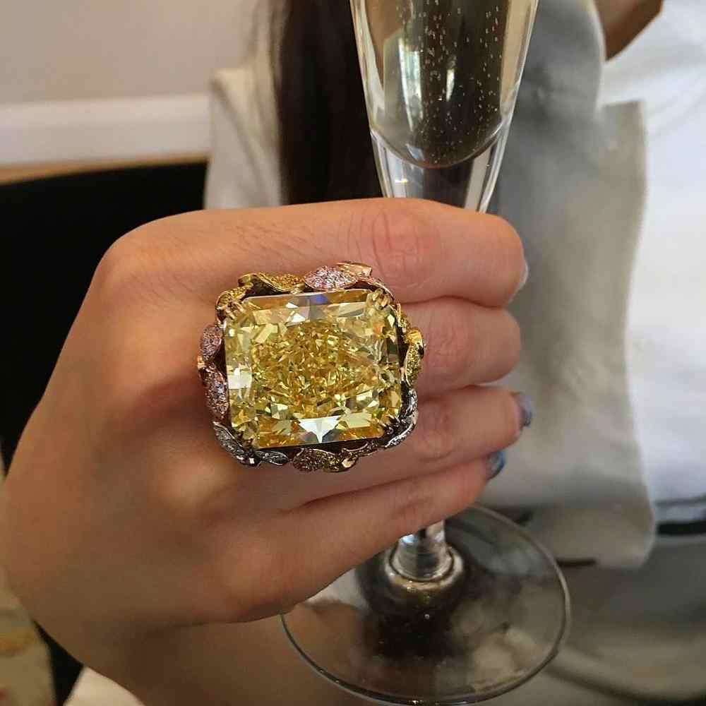 Luxury Silver Gold Color Party Ring Fashion Female Big Champagne Zircon Ring Unique Style Engagement Wedding Rings For Women
