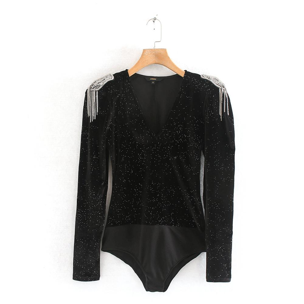 Women sexy deep v neck bright velvet bodysuit shirts women chic epaulette siamese blouse femininas playsuits blusas tops LD6098