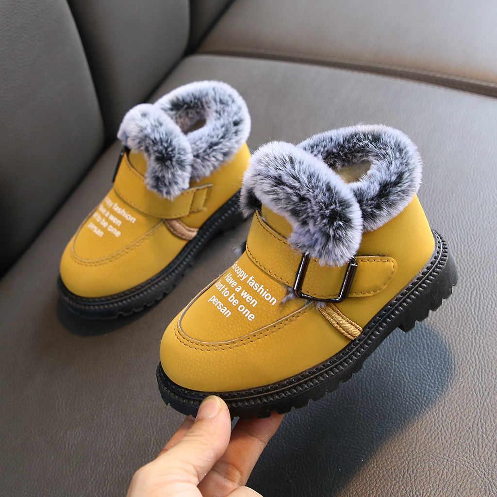 Winter Kinderen Baby Meisjes Baby Jongens Untie Slip Plus Fluwelen Snowboots Ankle Warme Mode Laarzen Comfortabele Casual Schoenen
