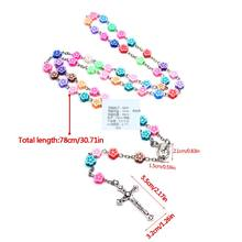 Catholic Rosary Necklace Rose Flower Polymer Clay Beads Religion Women Chains Q0KA(China)