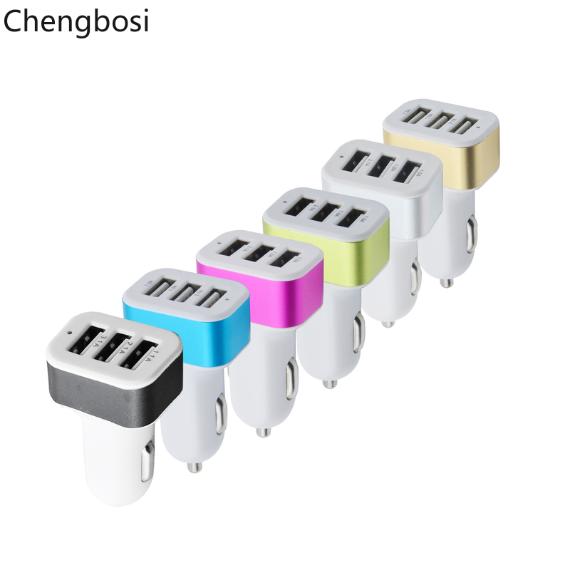 USB Car Charger 3 Port Phone Charger Adapter Socket 2A 2 1A 1A Car Styling USB Charger Universal For iPhone Xiaomi Samsung in Car Chargers from Cellphones Telecommunications
