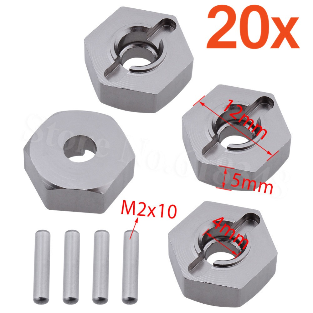 20 Sets/Lot Aluminum Wheel Hex 12mm With Pins <font><b>2x10</b></font> mm 102042 (02134) Upgrade Parts For 1/10th 4WD R/C HSP Hitmoto Redcat image