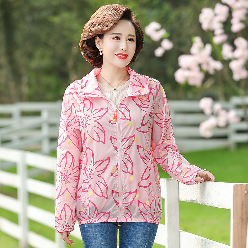 Summer Sunscreen Clothing 2021 New Women Pink Printed Hooded Thin Jacket Foreign Female Large Size Casual Short Cardigan aq161