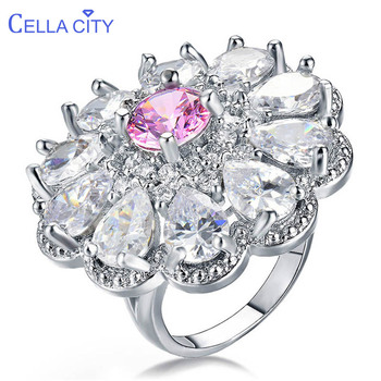 Cellacity anillo de piedras preciosas de lujo para mujeres joyería de plata 925 flor grande gota de agua en forma de Zircon fiesta de regalo femenina al por mayor