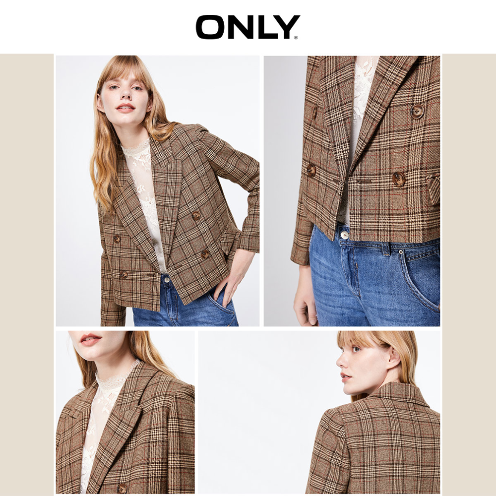 ONLY Autumn Winter Women's Short Checked Suit Jacket | 119308544