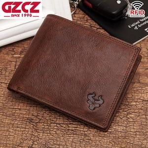 Image 2 - GZCZ Rfid 100% Genuine Leather wallet men credit card Purse portofolio slim wallets vallet Card Holder walet for women 2020