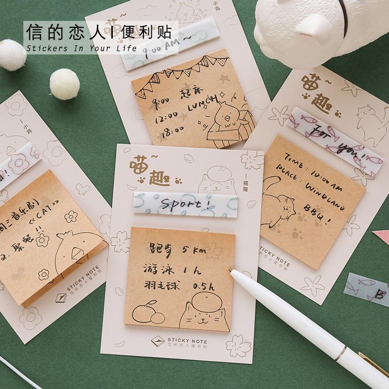 40 Pcs/lot Litmus Paper Note Pad Stivky Note Retro Kawaii Little Kitten Bird Pattern Sticky Notes  Kawaii Stationery Paper Memo
