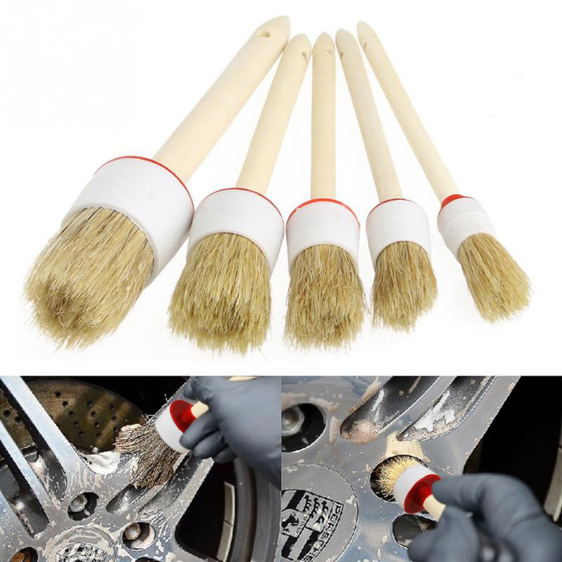 1Pcs 20-45mm Car SUV Detailing Wheel Wood Handle Brushes For Cleaning Dash Trim Seats Handy Washable Car Cleaning Tool