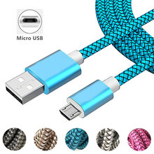 1m Nylon Fast Charging Micro USB Cable Sync Data Wire for Samsung J2 J3 J4 J6 J7 J8 A6 A8 Plus 2018 Cable Mobile Phones USB Cord(China)