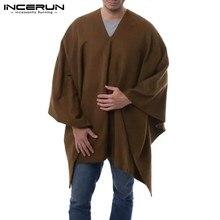 Men Cloak Coats Pullover Ponchos Trench Streetwear INCERUN Autumn Casual Irregular Solid