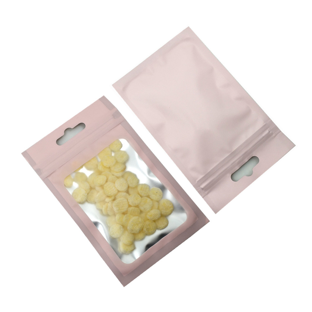 100PCS Frosted Clear Aluminum Foil Pouches Hang Hole Zip Lock Package Bags Matte Pink Zipper Mylar Foil Bag For Sundry Storage