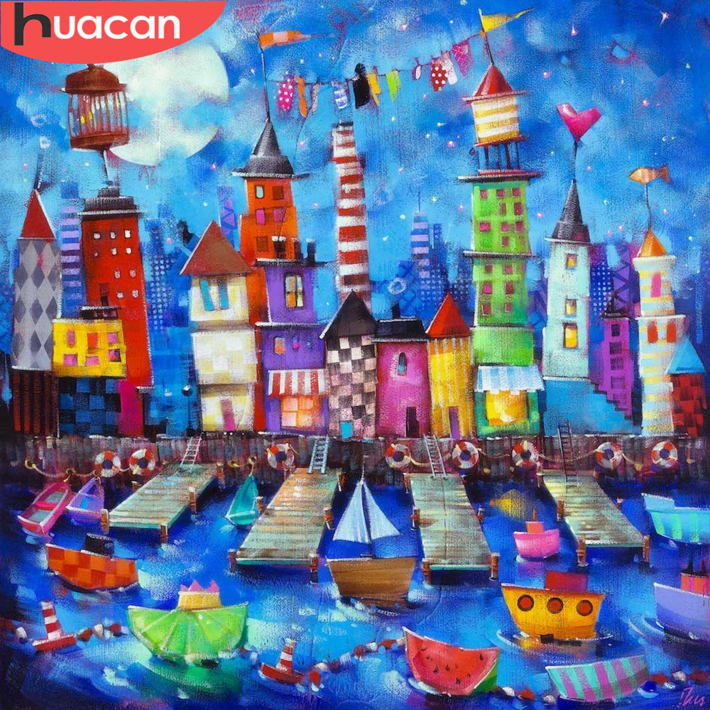 HUACAN 5d Diamond Painting Building Full Square Diamond Mosaic Scenic Diamond Embroidery Rhinestones Picture New Arrival