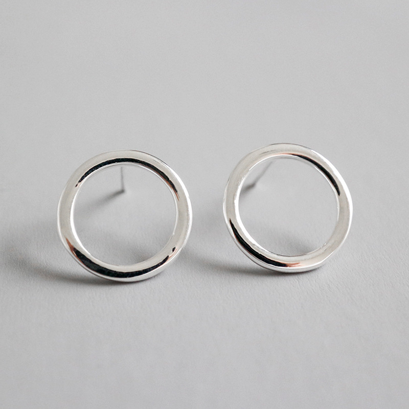 Minimalist 925 sterling silver circle stud earrings for women fine jewelry, fashion female earings girl birthday gifts party Pakistan