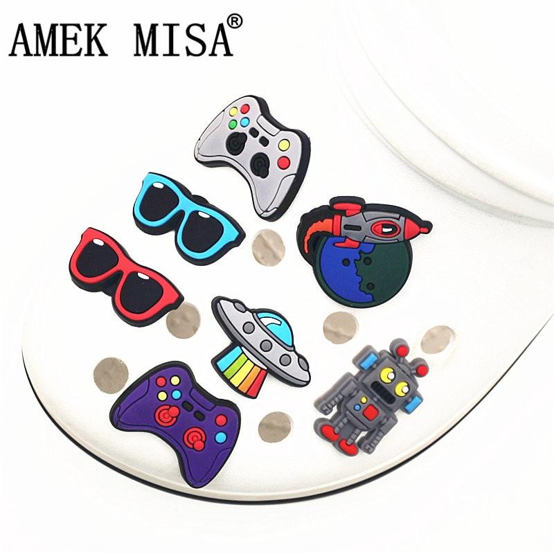 Single Sale 1Pcs Shoe Charms Novelty Spaceship/Sunglasses/Robot Shoes Accessories Shoe Decoration For Croc Jibz Kids Party X-mas