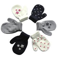 1 пара, зимние Антицарапки для новорожденных, вязаные варежки с принтом звезды и сердца