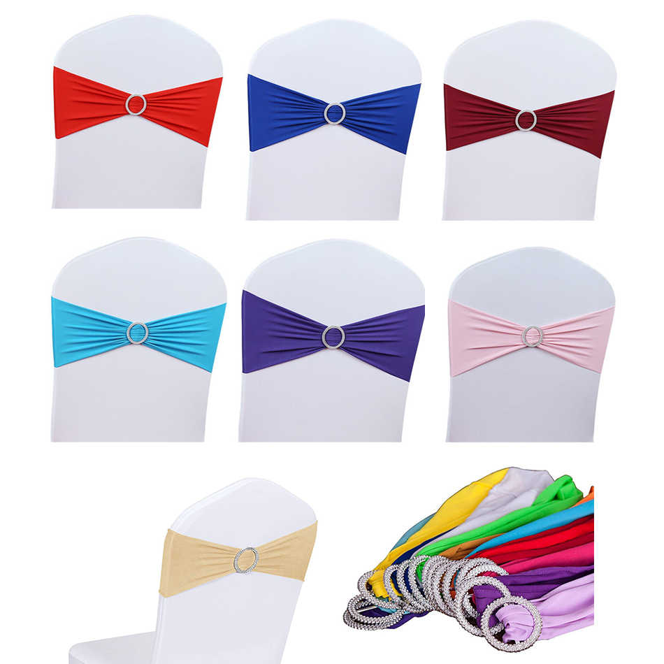 12pcs/lot Wedding Chair Bow Tie Spandex Lycra Round Buckle Cover Sash Bands Wedding Party Birthday Chair Decoration Chair Sash