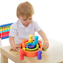 Toy Building-Blocks Villain-Set Montessori Arch-Bridge-Semicircle Wood Rainbow Educational