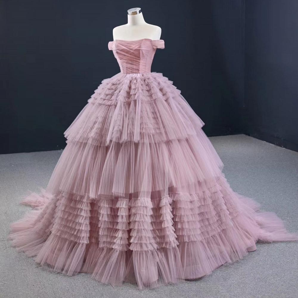 DD JYOY Elegant Off Shoulder Ball Gown Evening Dress Court Train Tiered Gown Pleat Body Lace Up Long Formal Women Evening Gown