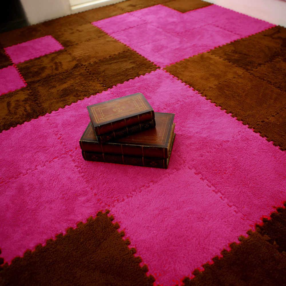 7 цветов Коврик Новый 25X25 см нетоксичный нескользящий меховой коврик пенистый коврик в форме пазла EVA лохматый бархатный Детский эко пол домашние коврики # C