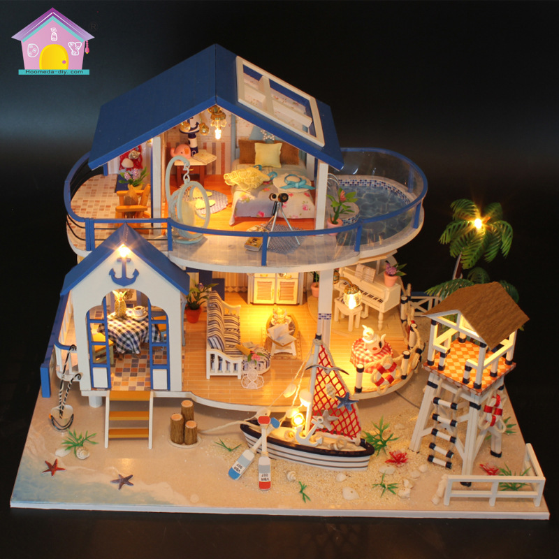 Hoomeda-Diy Miniature Doll House Wooden Belt Lighting Simulation Seaviewroom Toys For Children Dollhouse With Protective Cover