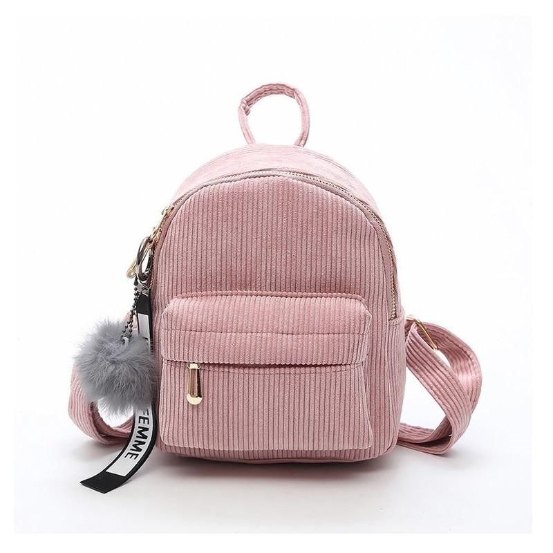 Miyahouse Corduroy Backpack Schoolbag Mochila Shoulder-Bags Travel-Bag Fuzzy-Ball Small