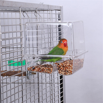 220ml Automatic Bird Food Feeder Hanging Cage Water Drinker Transparent Acrylic Parrot House Feeding Tools for Mannikin Sparrow 1