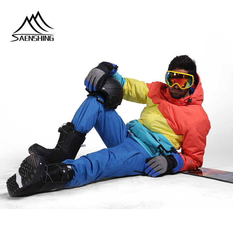 SAENSHING Snow Ski Suit Men Super Warm Waterproof 10K Ski Jacket Skiing Pant Male Snowboarding Suits Breathable Skiing Sets