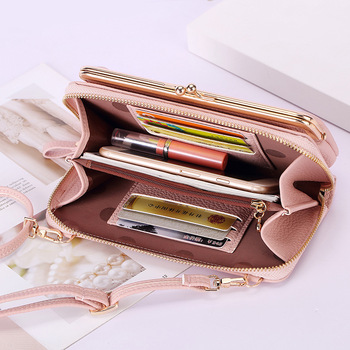 Womens Wallet Bags Mobile Phone Bag Money Card Holder Fashion Crossbody Shoulder Multi-Function Metal Clip Clutches Package