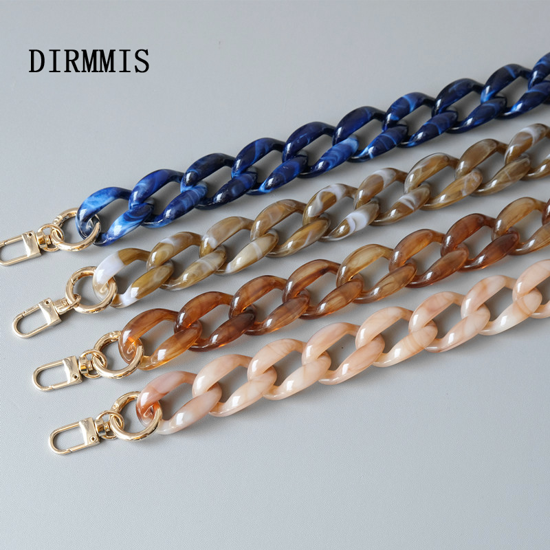 New Fashion Woman Bag Accessory Detachable Replacement Blue Pink Brown Acrylic Chain Luxury Strap Resin Shoulder Clutch Chain