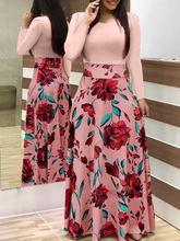 Платье в западном стиле с цветочным принтом смешанные цвета