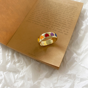 Vintage Bohemia Colorful Enamel Love Heart Ring Cute Simple Metal Gold Silver Color Rings for Women Punk Rock Jewelry