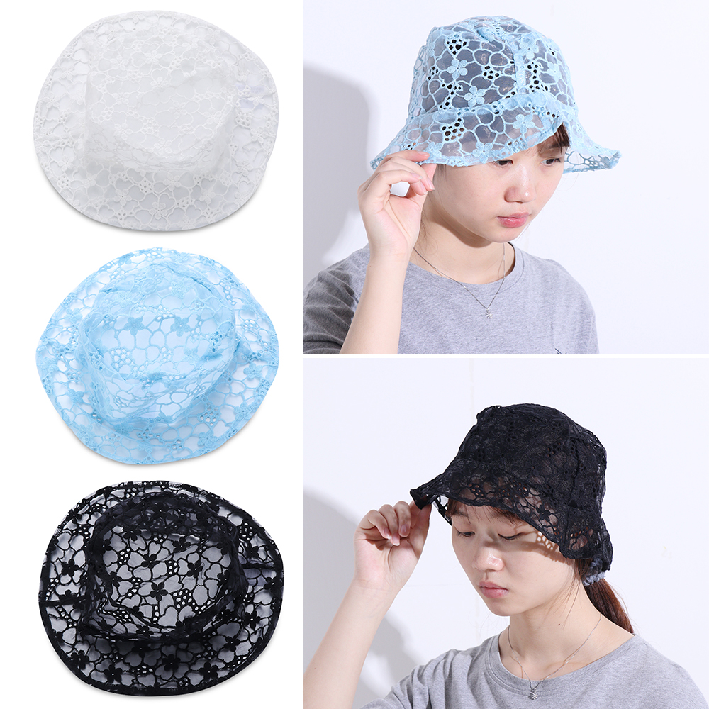 2020 New Korean Lace Hat for Women Soft Lace Hollow out Flower Wide Brim Sun Hats Floppy Summer Hat Dress Lace Ladies Bucket Hat