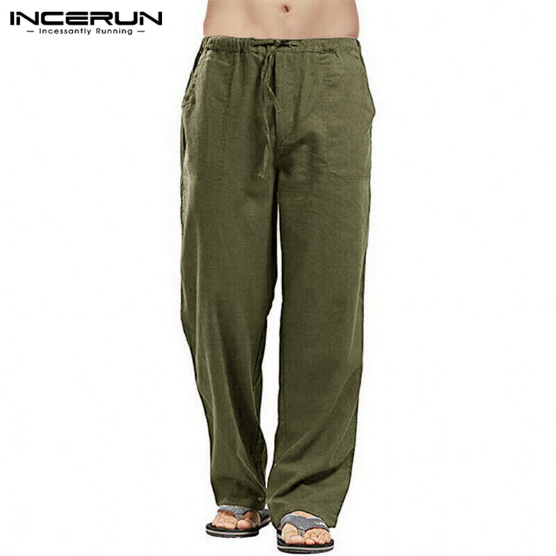 Men Full Cotton Plain Straight-leg Pants Pure Color Chinese Baggy Pockets Lacing Wide Leg Trousers Men's Brand Pant INCERUN 2020