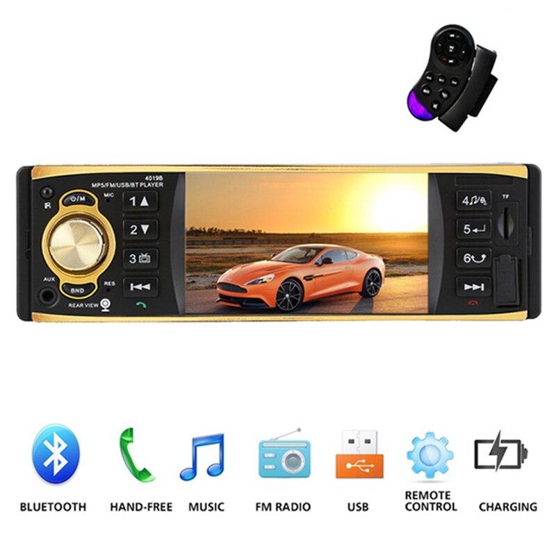 4019B 4.1 Inch 1 One Din Car Radio Audio Stereo AUX FM Radio Station Bluetooth Auto Radio with Remote Control