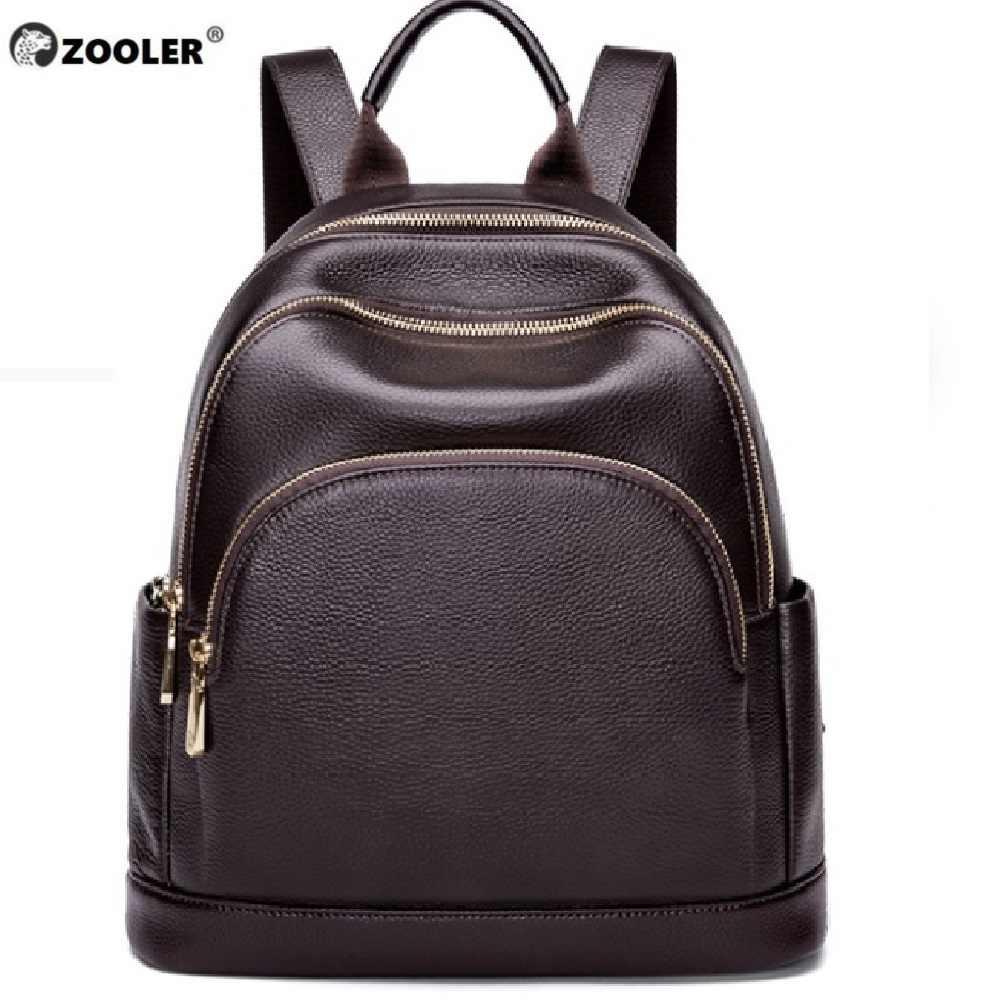 ZOOLER 100% настоящая коровья кожа черный серебряный Женский функциональный рюкзак
