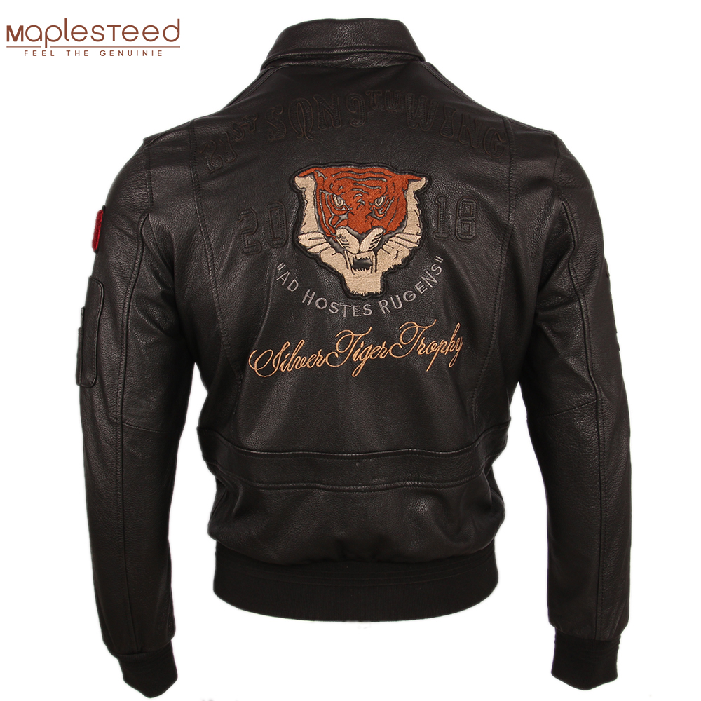 Men Leather Jacket Embroidery 100% Calfskin Jackets Brown Black Soft Flight Jacket A-2 Leather Coat Autumn Aviator Clothing M251
