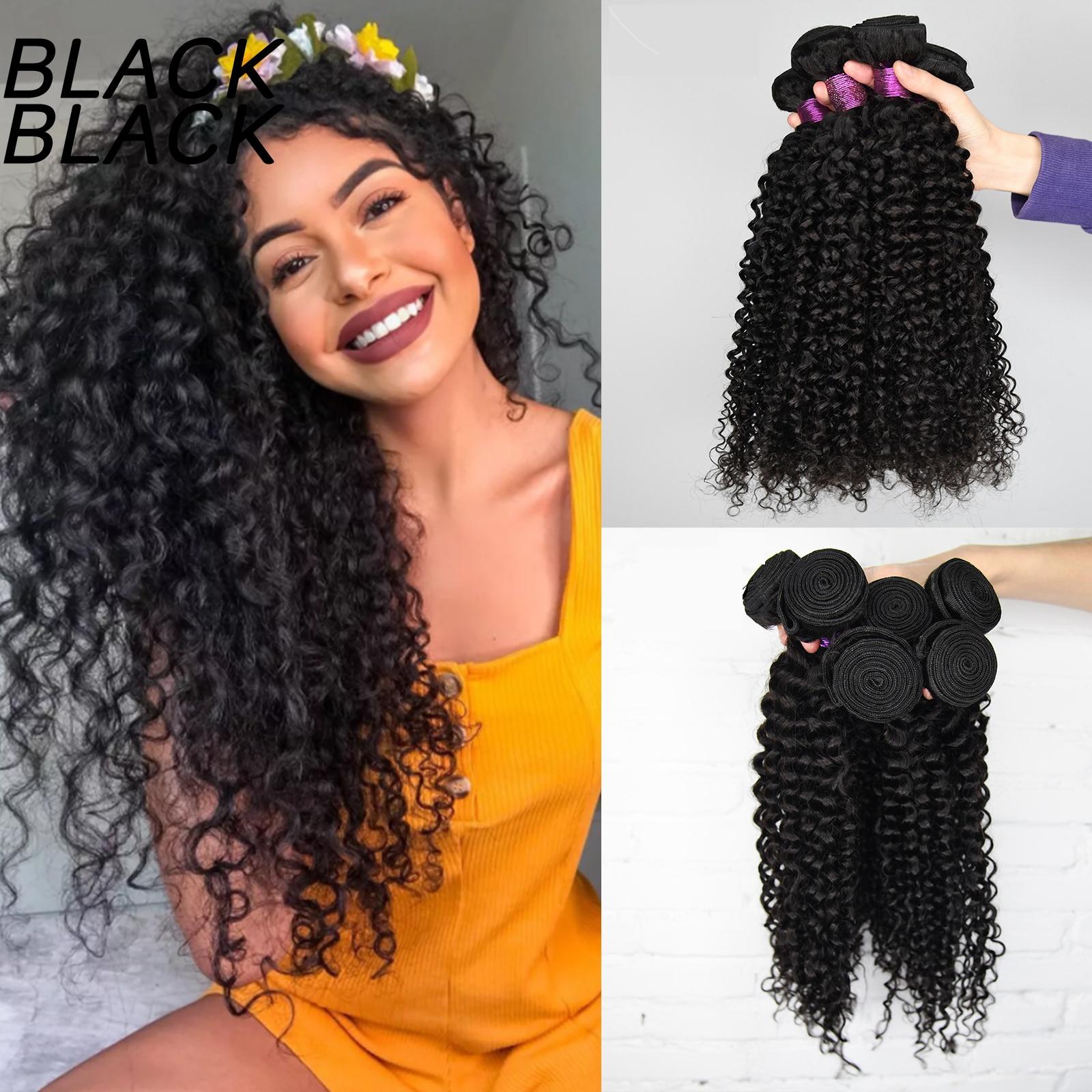 Черные малазийские вьющиеся волнистые пучки волос, глубокие вьющиеся волосы, пряди 30, 32, 34, 36 дюймов, человеческие натуральные волосы, толсты...