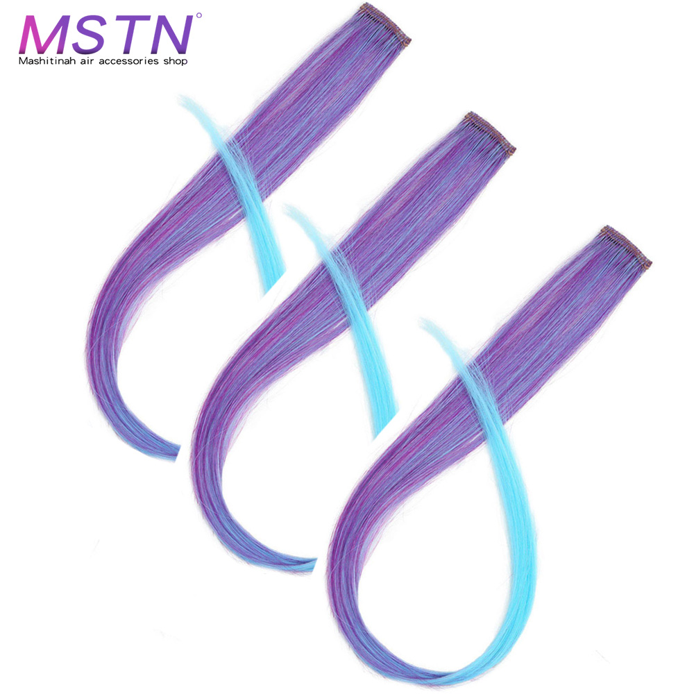 MSTN Connect Colorful Straight Hair Wigs Clip Piece Hairpin Party Nightclub Cosplay Women Girls Decorative Hair Accessories