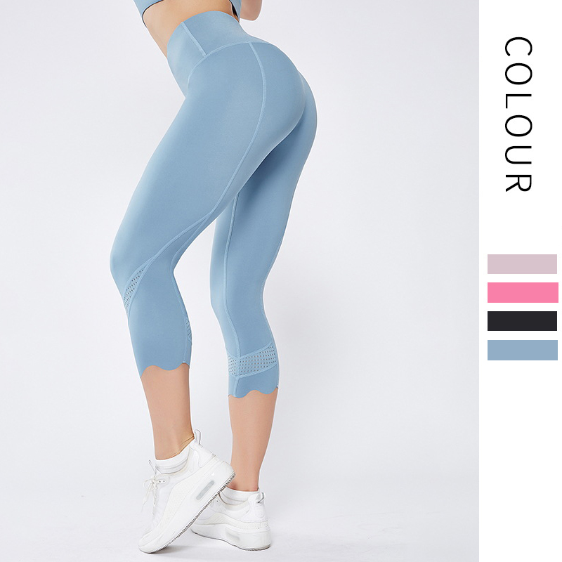 New Women Calf-Length Yoga Pants High Elastic Double-sided Nude Skinny Capris Girls Sports Wear Gym Leggings Sport Fitness