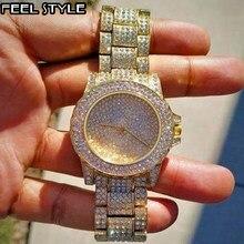 Iced Out Horloges Luxe Datum Quartz Heren Horloges Met Micropave Cz Roestvrij Stalen Horloge Voor Vrouwen Mannen Hip Hop sieraden
