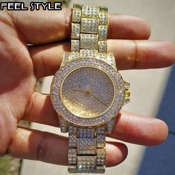 Iced Out Watches Luxury Date Quartz Wrist Mens Watches With Micropave CZ Stainless Steel Watch For Women Men Hip Hop Jewelry hip hop luxury mens iced out cz waterproof watches date quartz wrist watches with micropave alloy watch for men jewelry